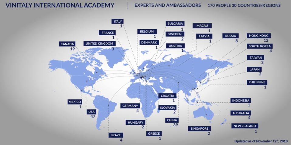 Map of the Vinitaly International Academy community worldwide
